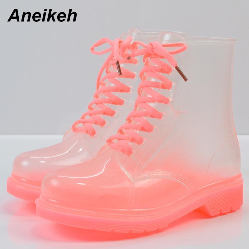 Aneikeh 2018 Kadınlar Yağmur Çizmeleri Şeffaf Su Geçirmez Renkli Bahar Sonbahar Ayakkabı Yağmur Çizme Kadın Ayak Bileği Çizmeler Büyük boy 40