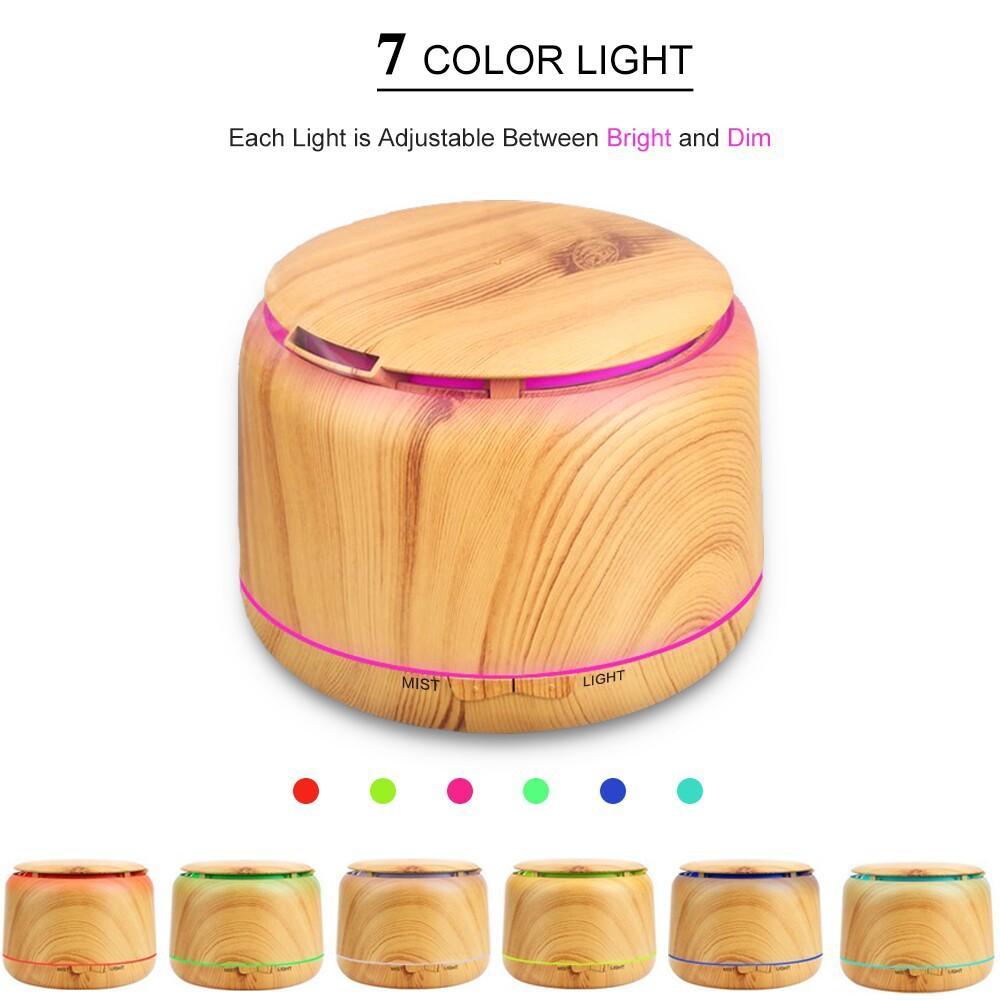 250 ml ahşap tahıl Aroma difüzör Ultrasonik Nemlendirici ev için 7 Renk lambaları ile uçucu yağ difüzör ofis için
