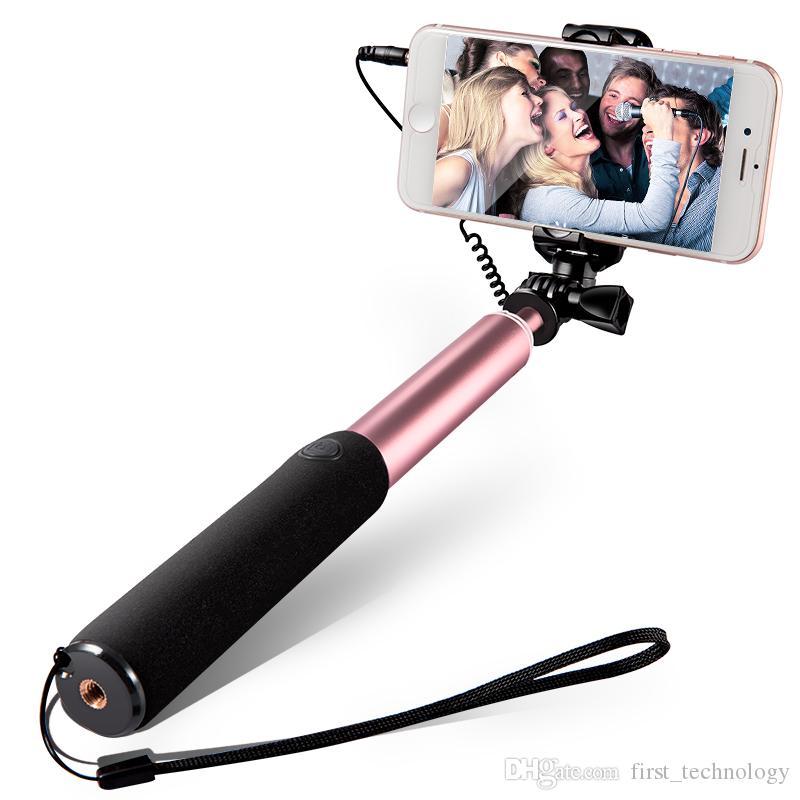 미니 셀카 스틱 버튼 유선 모노 포드 범용 아이폰은 거울로 8 개 7 개 6 S 안드로이드 삼성 화웨이 샤오 미 스틱 X