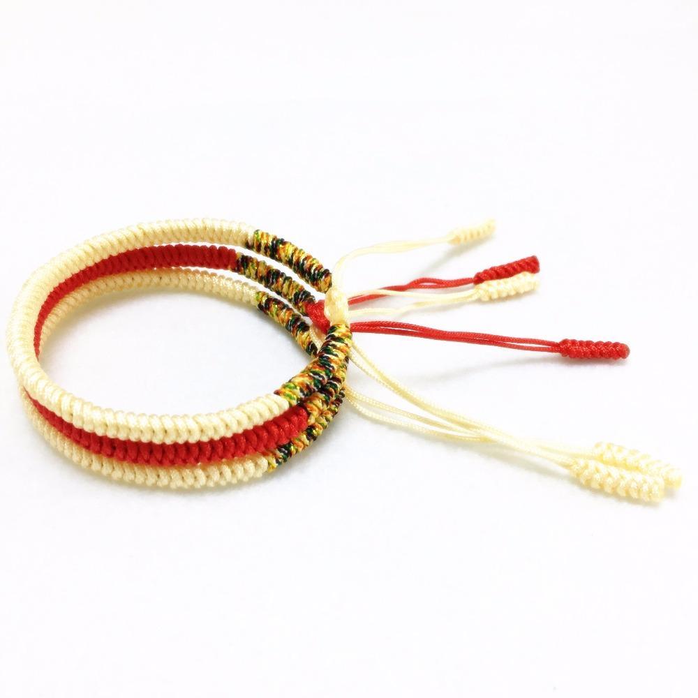 티베트 불교의 매력 팔찌 Bangles 손수 짠 여성 남성 흰색 빨간색 로프 팔찌 좋은 행운의 보석