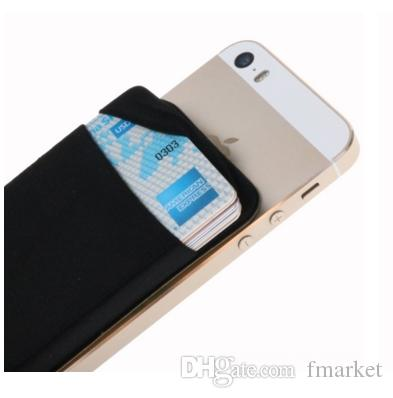 Credit Card Secure Holder Stick on Wallet ID Holder Lycra Spandex Card Sleeves for Smartphones Cell Phone Wallet Case 3M Adhesive Black