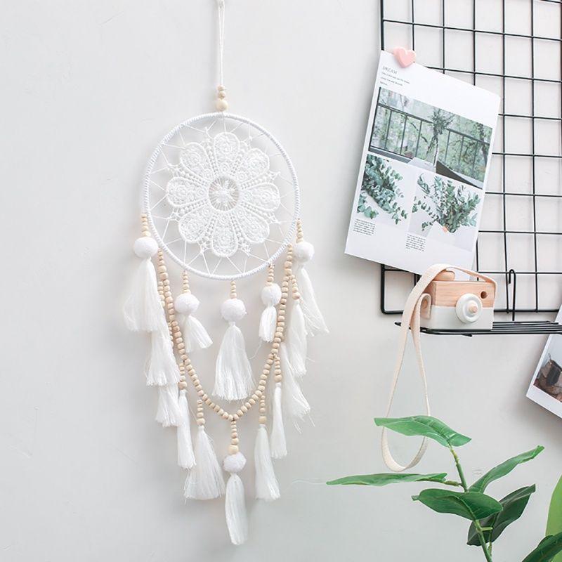 Ручной работы Ловец снов Индийский стиль Woven Гобелен украшения Белый Dreamcatcher Свадьба партии Висячие Декор перо Craft День рождения подарок