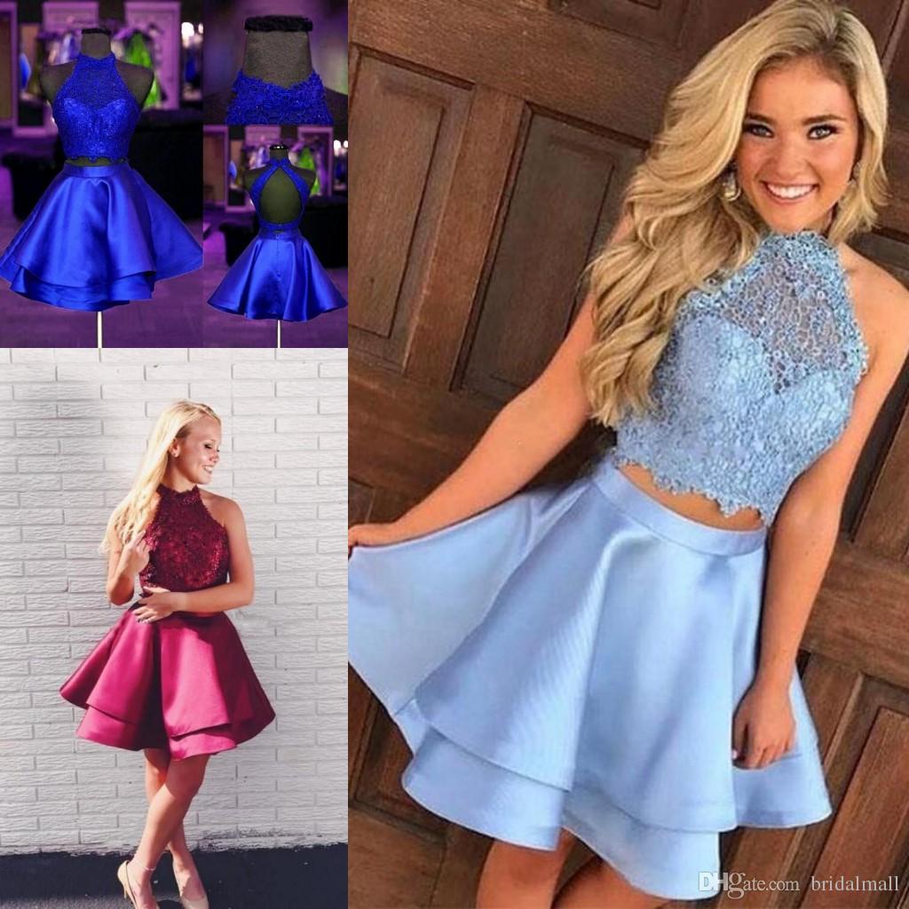 Nette Royal Blue Satin Kurze Heimkehr Kleider 2020 Sleeveless Spitze Mini Kleine Abendkleid Backless Cocktail Party Graduation Kleider Formale