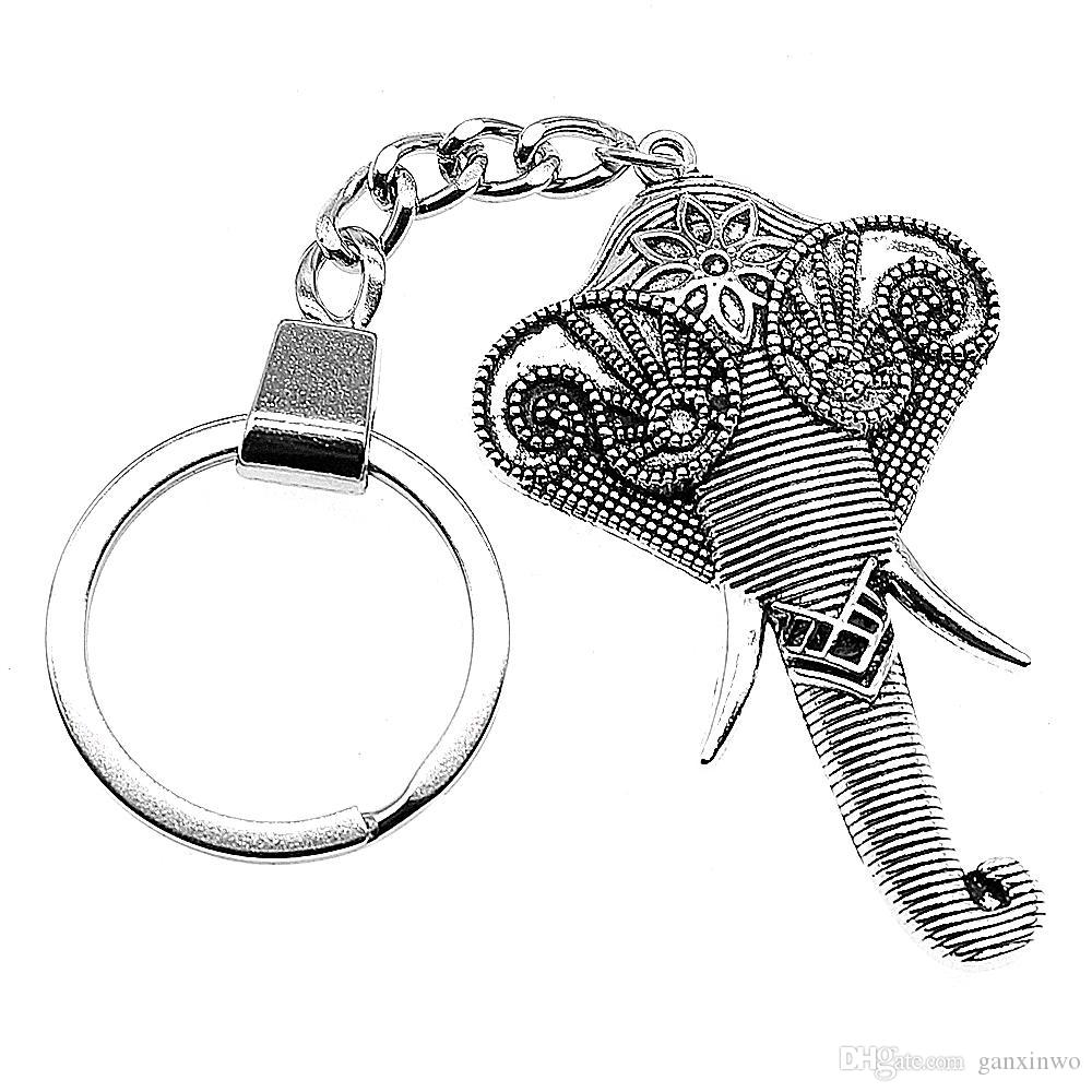 6 Pieces Key Chain Women Key Rings Fashion Keychains For Men Carved Elephant Head 61x37mm