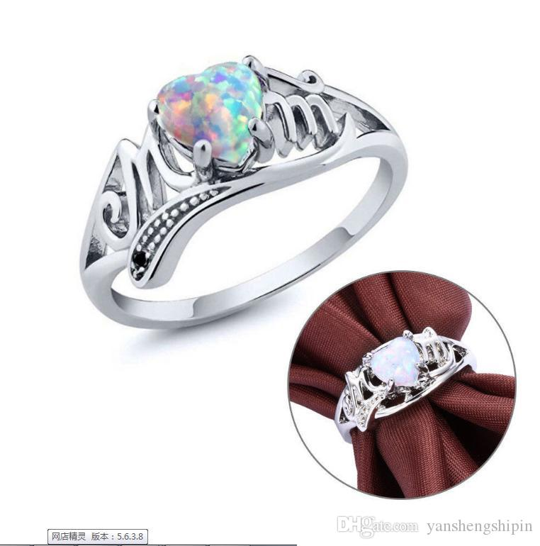Love Mum Silver Fire Opal Anello Two Tone MOM Character Diamond Ring Gioielli Famiglia Birthday Best Gift per Mother Mummy Party mer