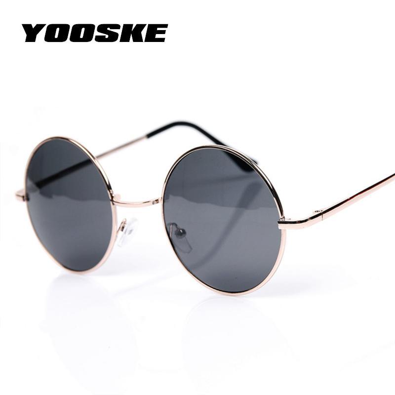 b8e2e7e6f Compre YOOSKE Vintage Rodada Óculos De Sol Para Mulheres Homens Designer De  Marca Espelhado Óculos Retro Feminino Masculino Óculos De Sol Dos Homens  Das ...