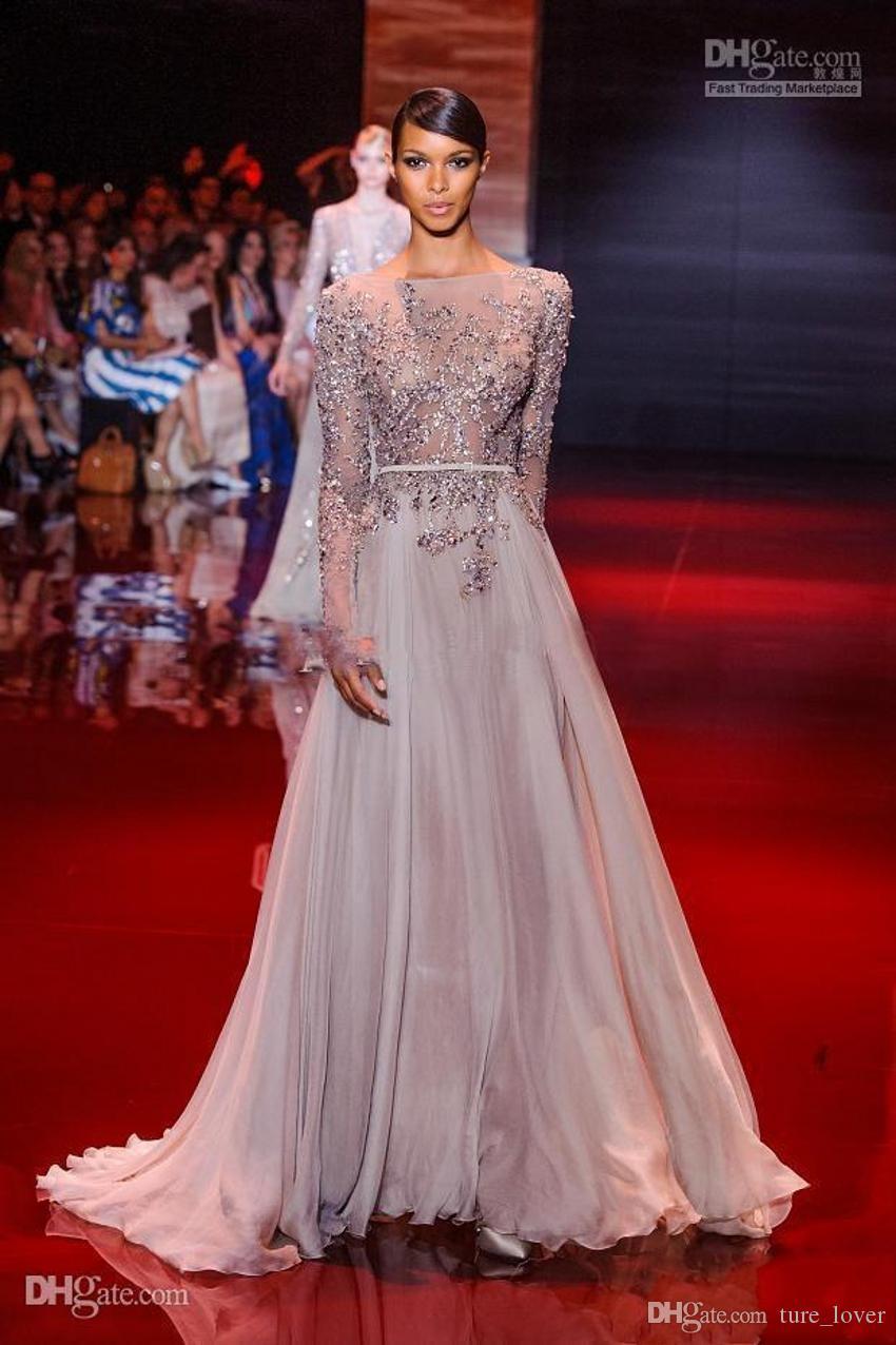 Elie Saab Sheer Strand Abend Chiffon Perlen Pailletten Bateau Ausschnitt mit langen Ärmeln Abendkleid bodenlangen A-Line Fashion Party Kleider