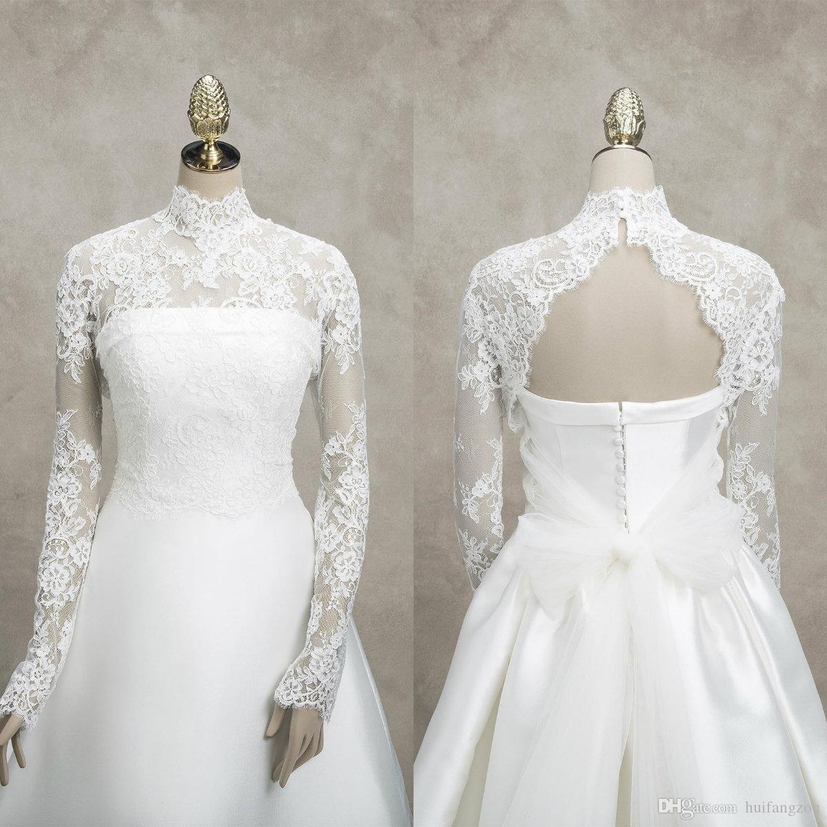 Bridal Lace Jacket High Collar Long Sleeves Appliques Wrap Sheath Bridal Bolero For Wedding Dresses Custom Made High Quality Jacket