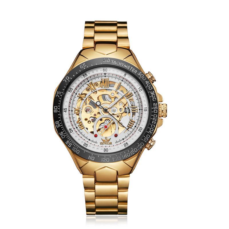 SEWOR Reloj mecánico de acero inoxidable para hombre Relojes de pulsera de esqueleto para hombre Relojes automáticos mecánicos automáticos SWQ58-183