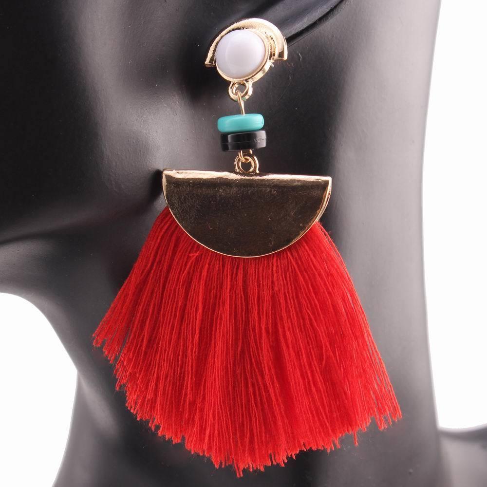 Acrylic Bead Drop Dangle Chandelier Red Color Tassel Pendant Women Earrings Gift 2018 Brand New Design Fashion Earrings Jewelry S914
