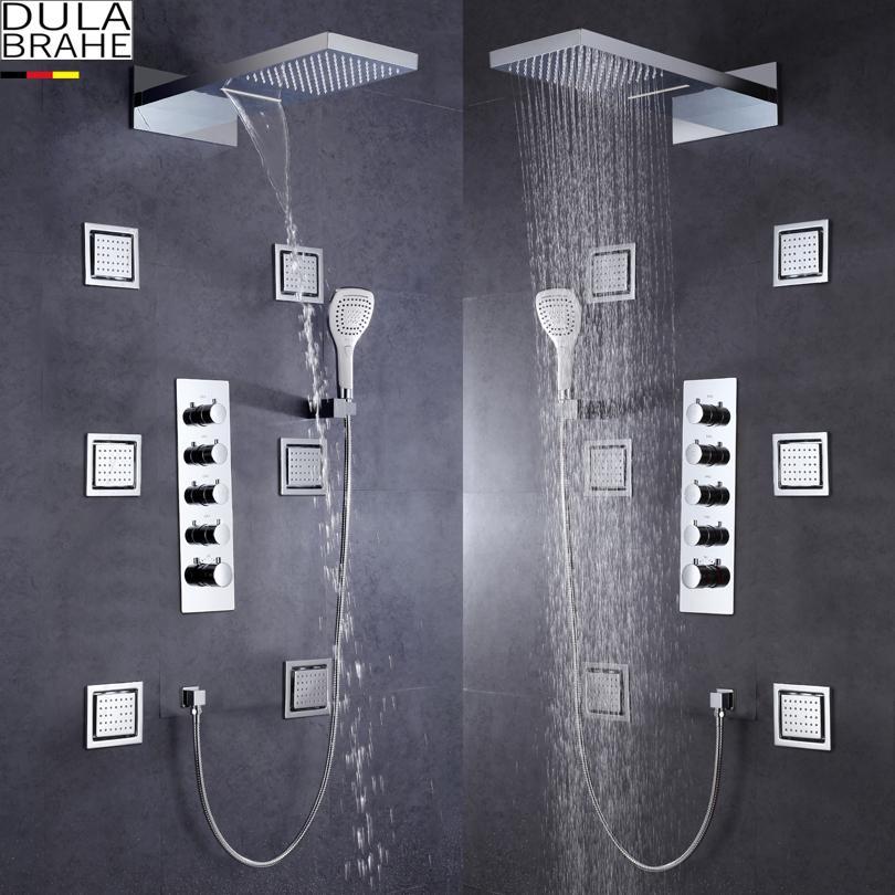 Tyskland Dulabrahe termostatisk badrum dusch kran stor vatten flöde mixer set bad duschventil vattenfall och regn dusch huvudet