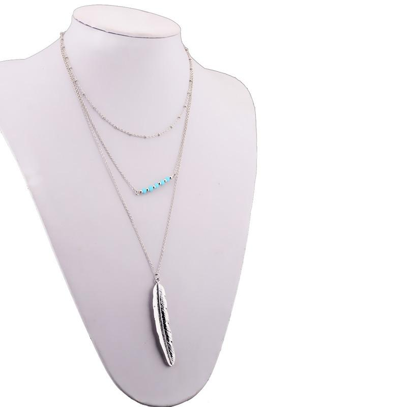 Fashionable Metal Feather Leaves Pine Beads, Multi Beads Necklace Chain CX487