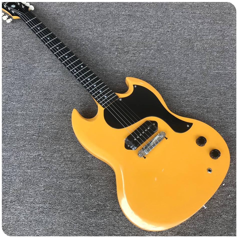 Gisten 옐로우 컬러 일렉트릭 기타 유적 스타일 싱글 픽업, 블랙 피크 가드 최고 품질의 기타 라단 흑단 지판