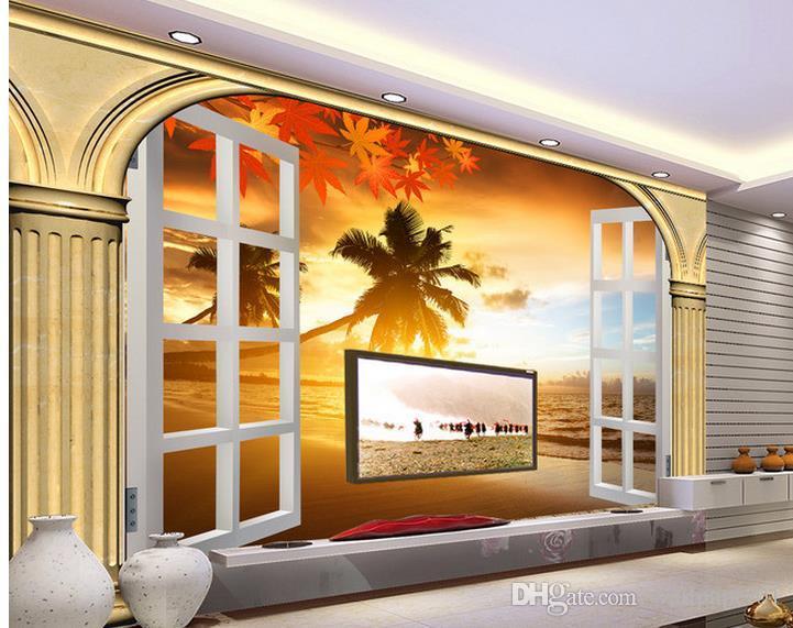 Estéreo encargo de la foto del papel pintado 3D columna romana original de la ventana blanca puesta de sol vista al mar Playa 3D pared del fondo del papel pintado Pintura Mural Para L
