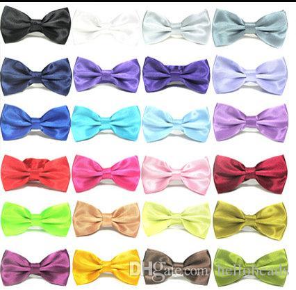 20 adet Mix Renkler Erkekler Leke Katı Renkler Yay Bağları Kelebek Beyefendi Düğün Parti Ayarlanabilir Düğün Düz Balo Boe Kravat
