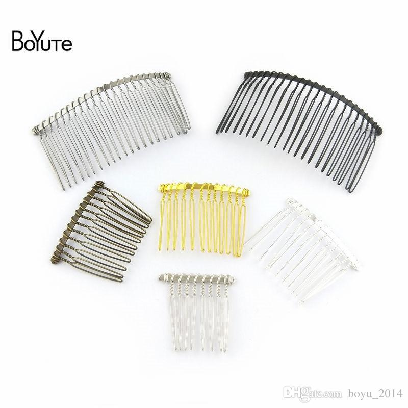 BoYuTe 10Pcs Vintage Hand Made Diy Wire Comb Metal Hair Comb Base 6 Colors Plated Women's Diy Hair Jewelry Accessories( 8 Teeth)