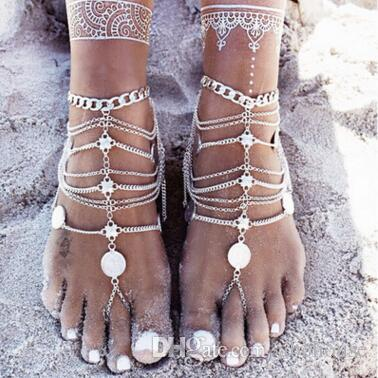 Barefoot Sandals Stretch Anklet Chain with Toe Ring Slave Anklets Chain Retaile Sandbeach Wedding Bridal Bridesmaid Foot Jewelry Wholesale