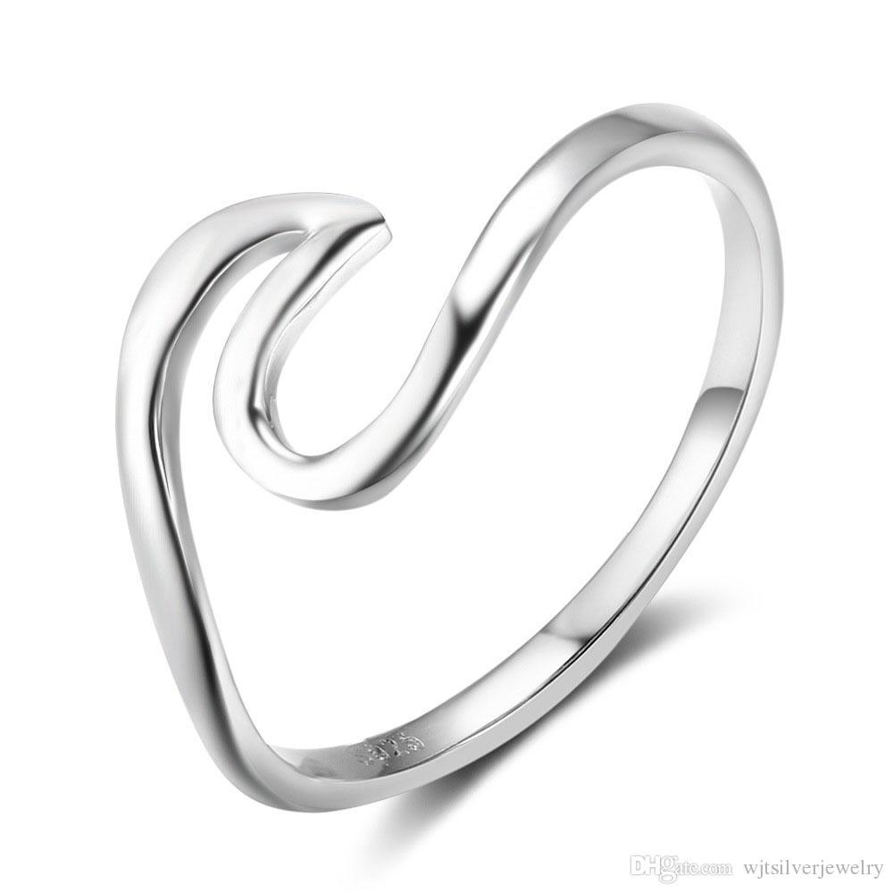 Genuina 925 regalos Sterling Silver Wave Diseño Anillos Mujeres Midi Anillos Nuevo Cumpleaños joyas de plata anillo italiana regalo para niñas
