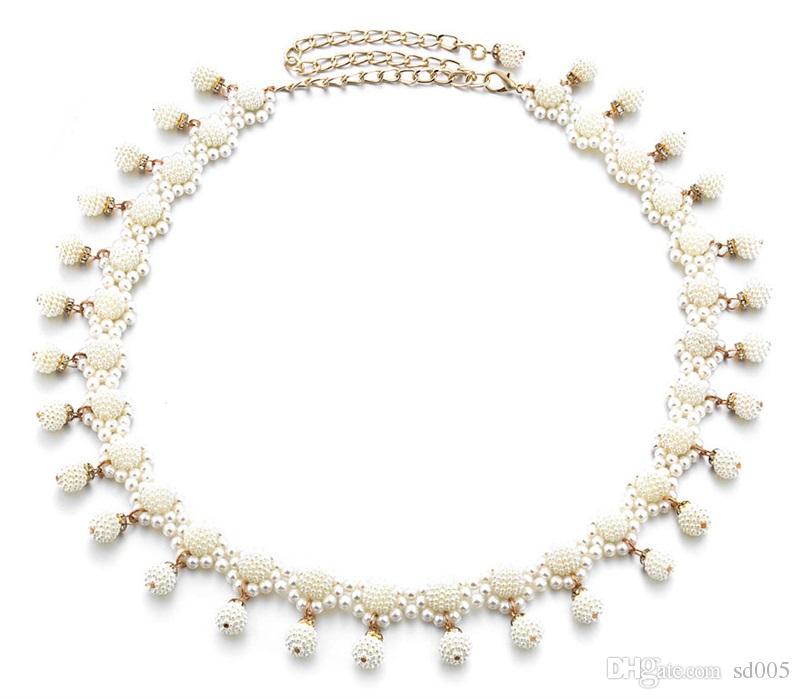 Fashion Women Belt Weave Pearl Waist Chain Leisure Pendant Belly Dance Waistband Dance Dress Decoration Fine Belts 12dm G