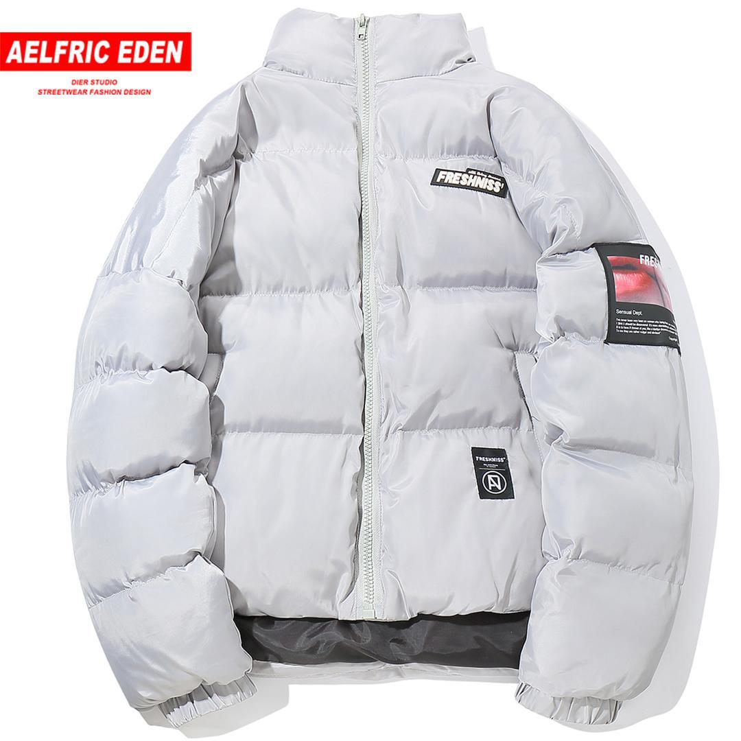 Aelfric Eden 2018 겨울 남성용 립스틱 인쇄 두꺼운 파카 Streetwear 빈티지 자켓 코트 하라주쿠 따뜻한 남성용 윈드 브레이커 Fs37