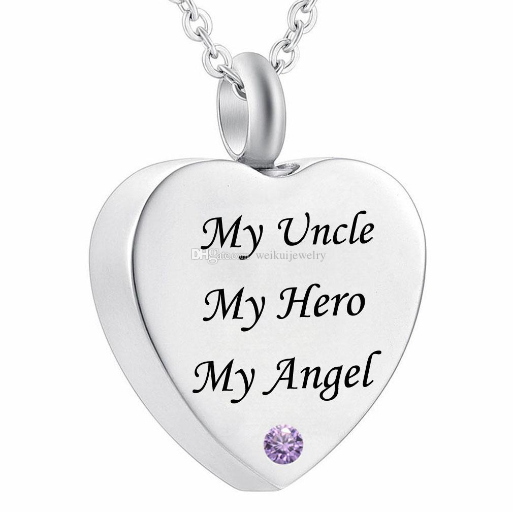 Mi papá Mi héroe Mi ángel Joyas de cremación Cristal de piedra de nacimiento Collar de urna conmemorativo tío Corazón Colgante Embudo Kit de llenado