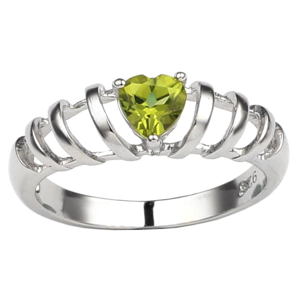 Real Green Peridot 925 Sterling Silver Anello a forma di cuore Donne di cristallo Gioielli Donne Agosto Birthstone Regalo di compleanno R663GPN