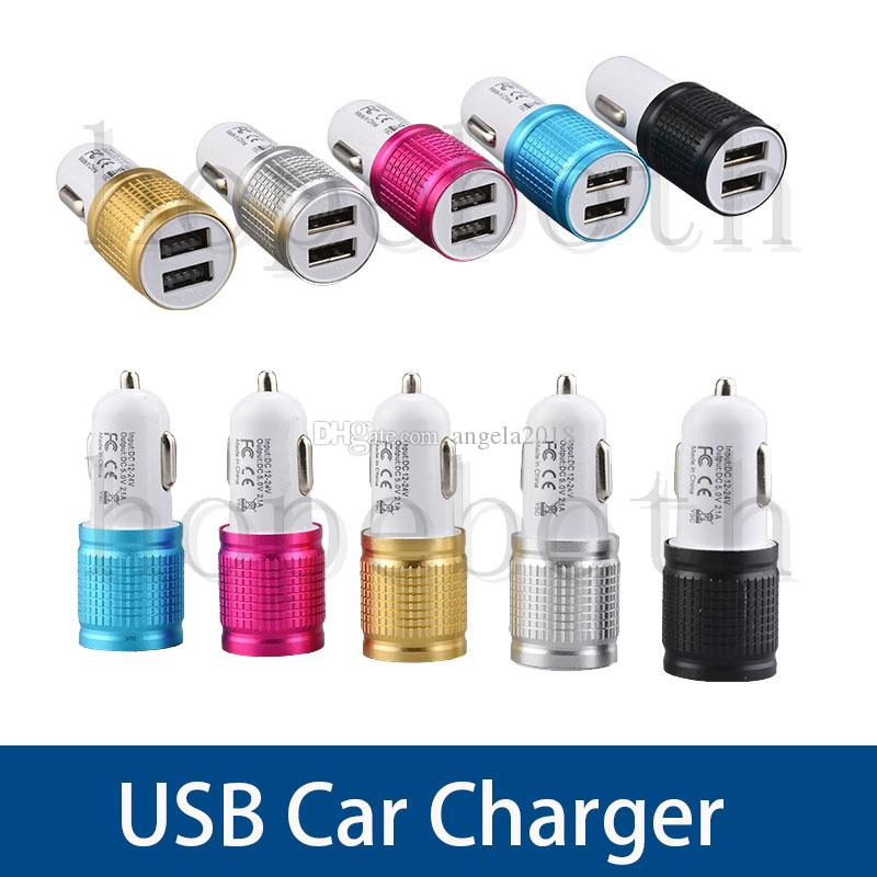2.1A Fast Universal Aluminium Dual USB Car Charger Mobile Phone small steel cannon indicator For Samsung S6 S7 8 Plus