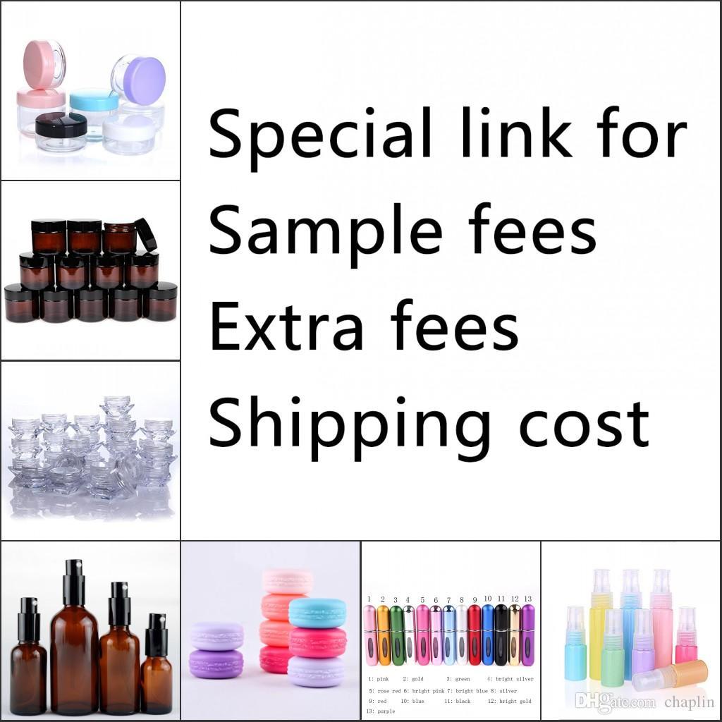 Enlace especial para tarifas de muestra tarifas adicionales costo de envío de frascos cosméticos de plástico botella de atomizador de spray de perfume de vidrio