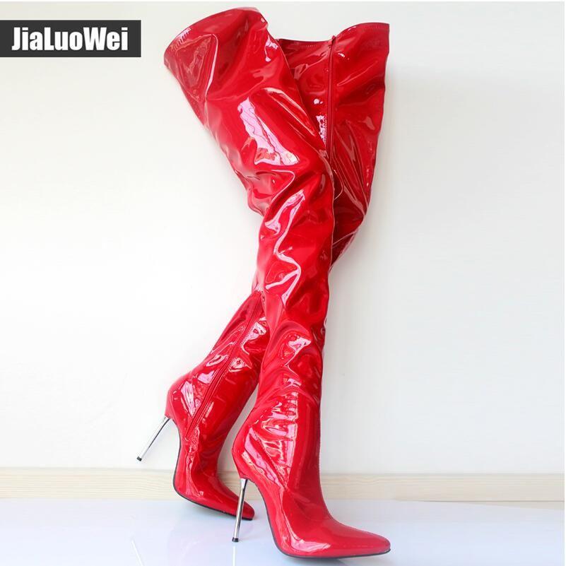 المرأة الخريف الفخذ أحذية عالية الكعب جنسي ارتفاع زيبر براءات الاختراع والجلود أكثر من الركبة أشار تو أحذية التمهيد رجل تأثيري الأحمر الرقص اللباس