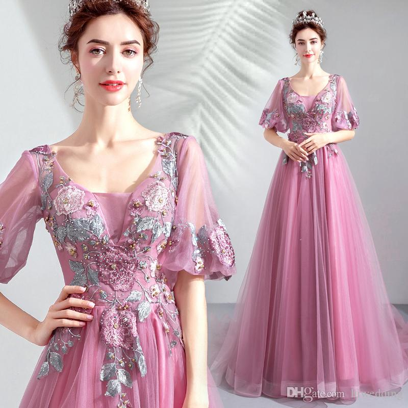 Pearls Lace 2018 Sexy Prom Dresses Scoop Short Sleeves A-line Evening Dresses Vintage Cheap Pageant Bridesmaid Formal Party Gowns