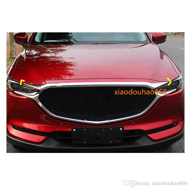 For Mazda CX-5 CX5 2nd Gen 2017 2018 car styling ABS Chrome front engine Machine grille upper hood stick lid trim lamp 1pcs