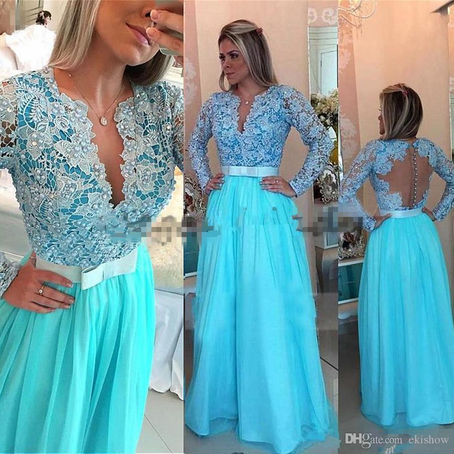 2018 Chiffon Charme Azul Com Decote Em V Lace A Linha de Vestidos de Noite Mangas Compridas Pérolas Beading Azul Vestido de Baile Arco Ilusão de Volta Custom Made