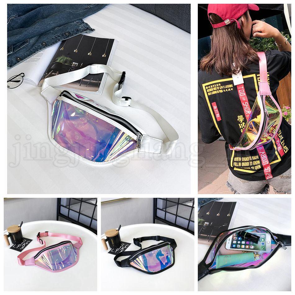 Femmes PVC Laser Hologram Taille Packs Fanny Pack Pack Zipper Sac de ceinture réfléchissant Transparent Sac de téléphone Holographique Kids Sac à main OOA5211