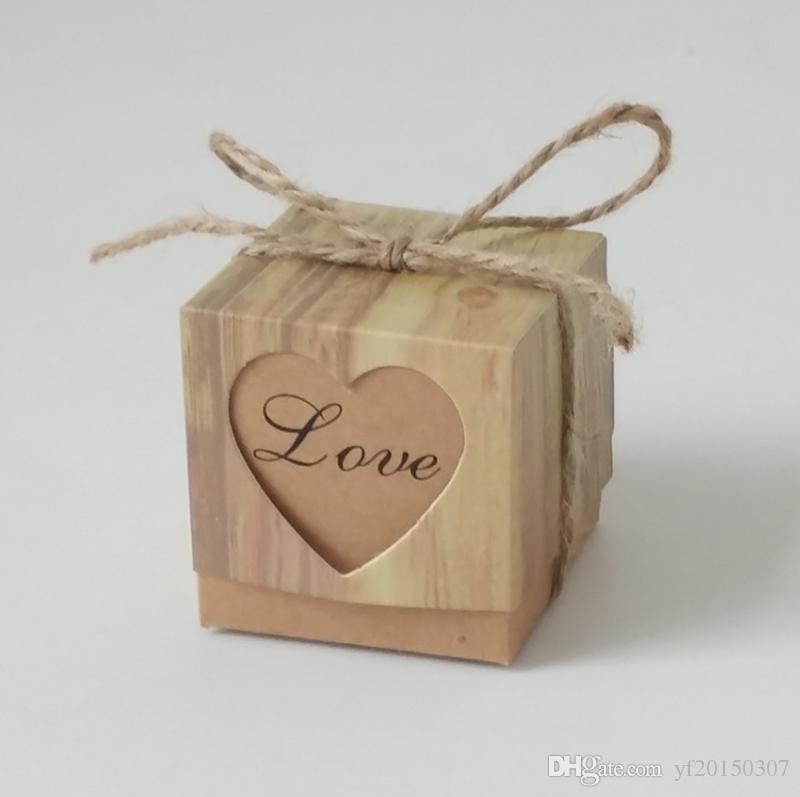 Bolso de regalo Kraft corazón con arpillera Boda caja de dulces Romántico guita Chic Favores y regalos de boda caja Fuentes del partido