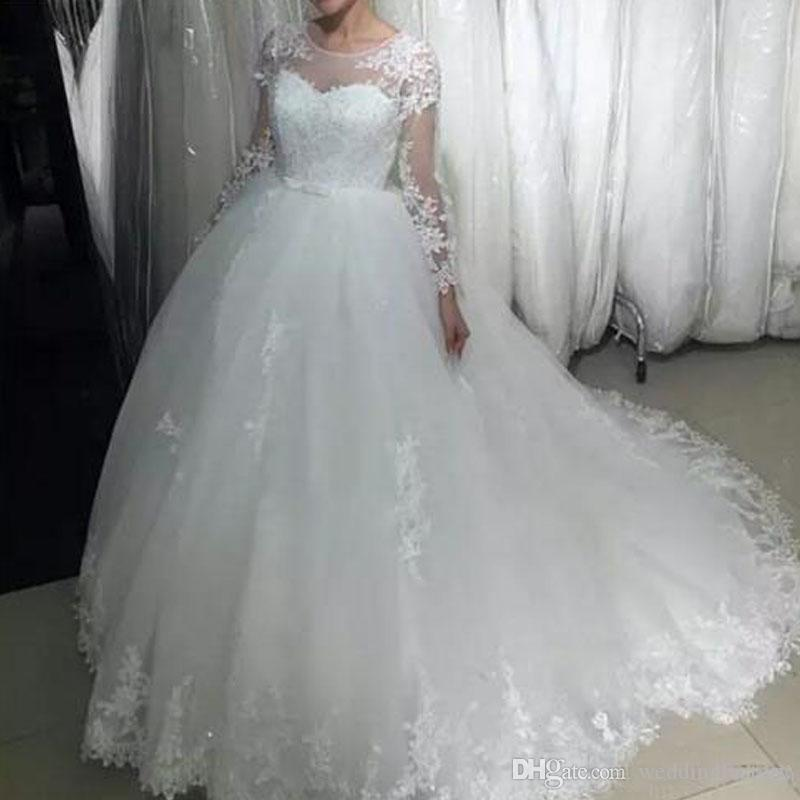 Великолепное бальное платье свадебное платье Sheer Jewel Neck Puffy Тюль Свадебные платья Кружева Аппликации Sheer Длинные рукава Свадебные платья
