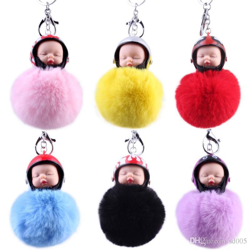 Cartoon Fluffy Doll Key Ring Colorful For Women Keychain Plush Hair Ball Motorcycle Helmet Sleeping Baby Keys Buckle Fashion 7 02gf B
