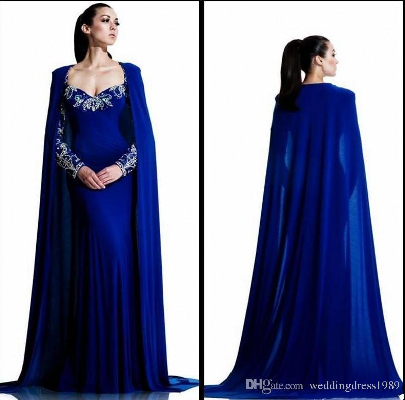 Trendy Royal Blue Arabic Evening Dresses With Cape Long Sleeve Dubai Beads Crystal Vestidos De Festa Party Formal Pageant Celebrity Gowns