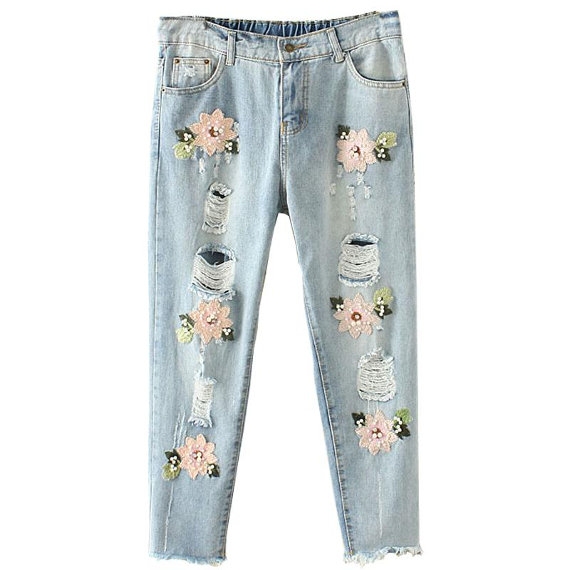 Compre Nueva Llegada Tallas Grandes Jeans Rasgados De Las Mujeres Boyfriend Jeans Para Mujer Pantalones De Mezclilla Bordado Flores A 22 9 Del Dayup Dhgate Com