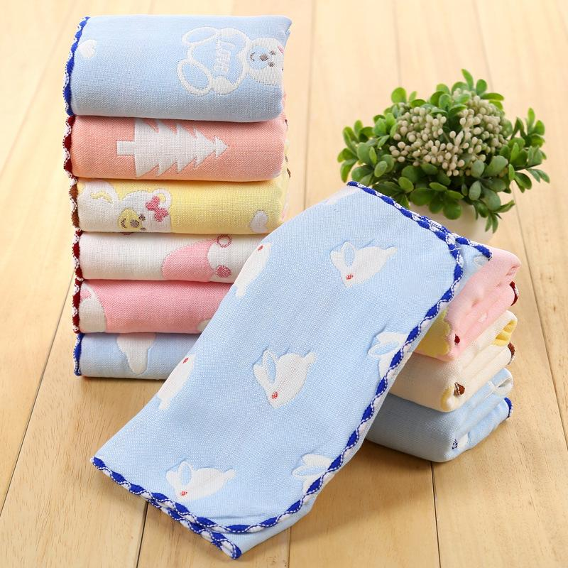 Pure cotton 25 X 50 cm six layer gauze child towel baby face towel