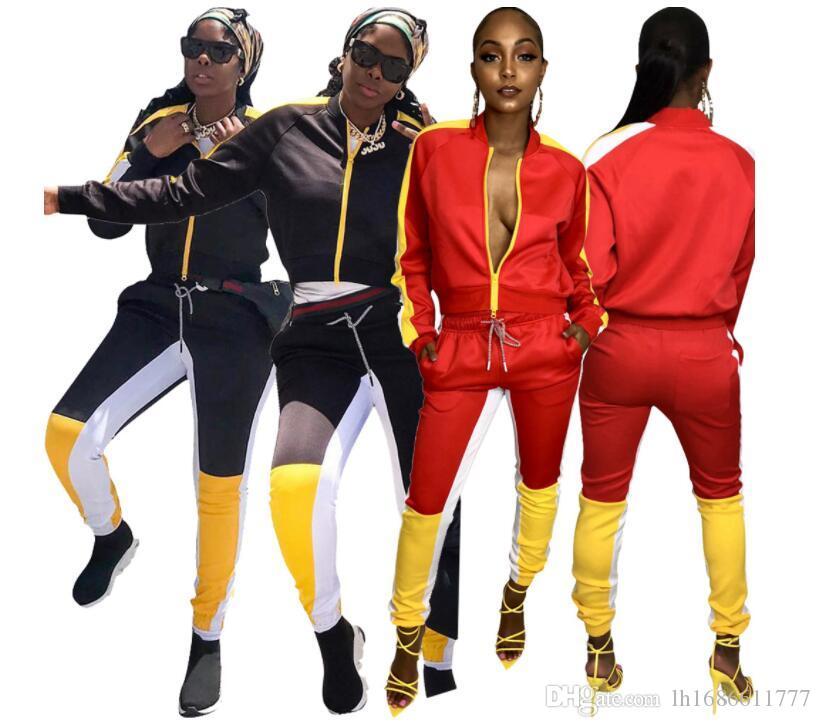 Weibliches zweiteiliges Set Frau Trainingsanzug Zipper Top T Jacke + Hose Damen Herbst Kostüme Sport Anzüge Frau Sweatshirt