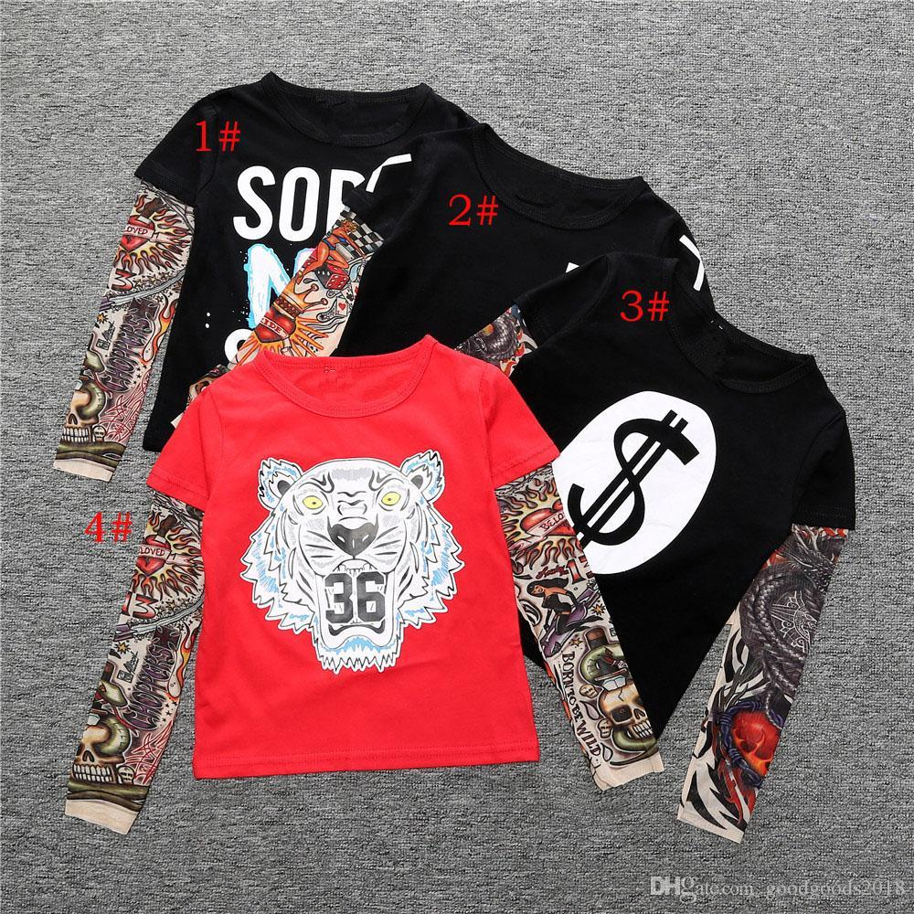 Ins Baby Kids Clothing Printed Cotton Boys T shirt Fashion Sashimi Tattoo Patterns Sleeves Hip hop Style Long Sleeve TO809