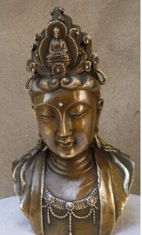 WBY --- 404 +++ Bouddhisme Chinois Laiton Cuivre Kwan-yin Guanyin Sakyamuni Statue de Bouddha