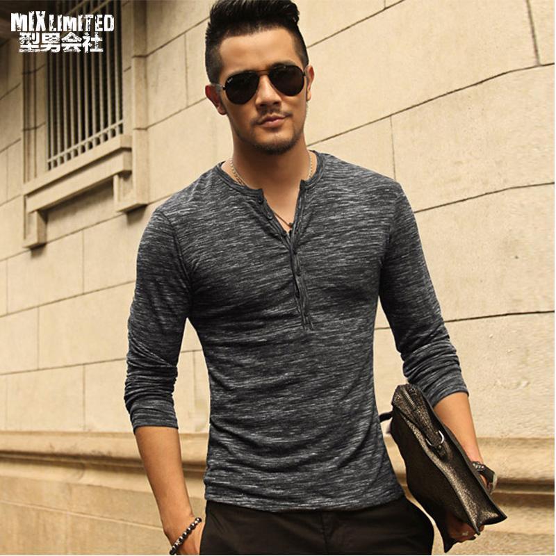 9b96ab47b New Men Henley Shirt 2018 new Tee Tops Long Sleeve Stylish Slim Fit T-shirt  Button placket Casual men Outwears Popular Design CL430