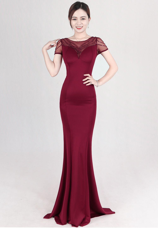 Großhandel Neue Burgund Perlen Lange Abendkleider 11 Durchsichtig Oansatz  Abschlussball Formelle Kleider Celebrity Party Kleider Club Maxi Kleid