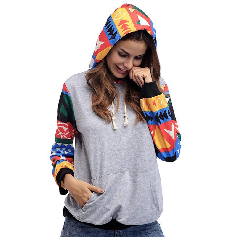 Commercio all'ingrosso 2018 nuove donne di arrivo geometrica plaid patchwork pullover con cappuccio o-collo manica lunga con cappuccio felpa cappotti femminile