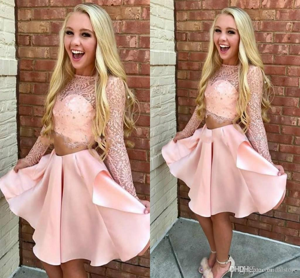 Cute Pink Two Piece Cocktail Party Dresses Sheer Neck Lace Long Sleeve Formal Party Homecoming Gowns Satin Mini Short Robes de cocktail