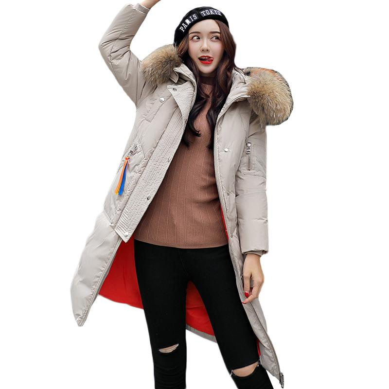 Women's 2018 Winter New Plus Size BF Long Down Cotton Jackets Female Loose Hooded Big Fur Neck Warm High quality Parkas ZS514