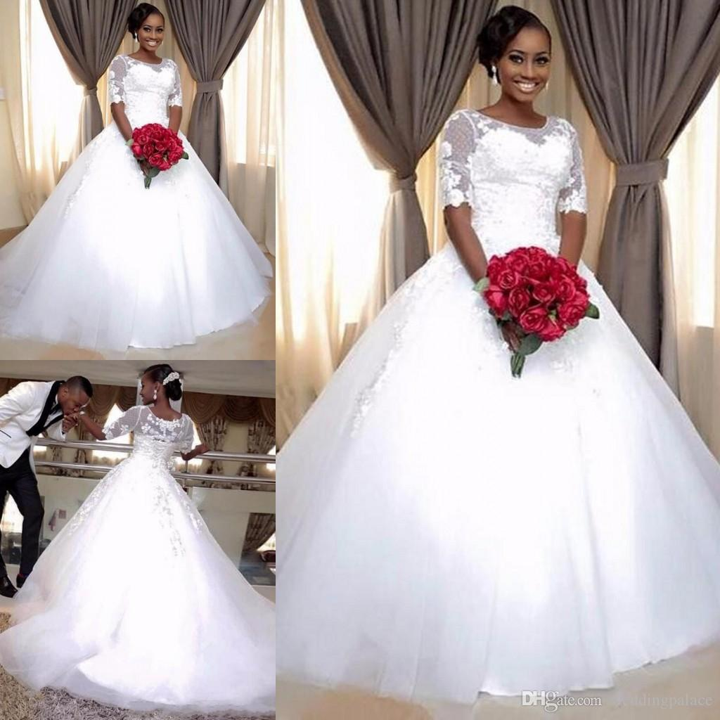 Hot Scoop Neck Half Sleeve A-line Wedding Dresses South African Button up Plus Size Bridal Wedding Gowns Bride Dresses