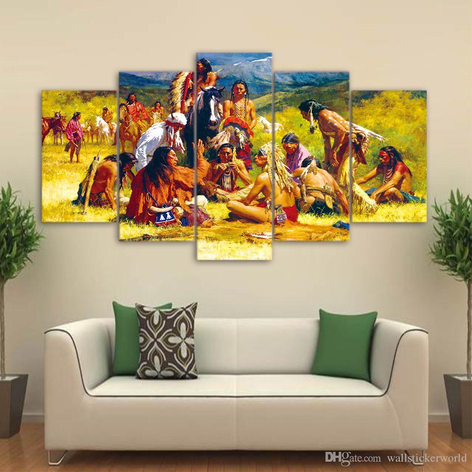 5 Teile / Satz Indianergruppe Leben Leinwand Abstrakte Wandkunst Wohnkultur  Für Wohnzimmer Poster HD Gedruckt Bilder ...