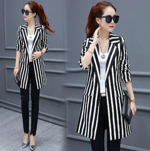 2019 High Quality 2018 Black And White Striped Blazer Women Plus Size  Blazers Business Suits Womens Work Wear Long Slim Tuxedo Jacket From  Southd, ...